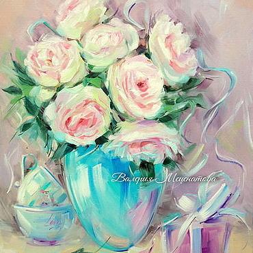 Картины и панно ручной работы. Ярмарка Мастеров - ручная работа Картина маслом на холсте. Люблю тебя! Картина с розами. Handmade.