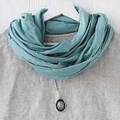 Аксессуары handmade. Livemaster - original item Dusty turquoise cotton scarf-shawl. Handmade.