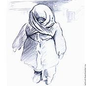 Картины и панно ручной работы. Ярмарка Мастеров - ручная работа Картина Сегодня мороз, рисунок карандашом серый белый графика. Handmade.