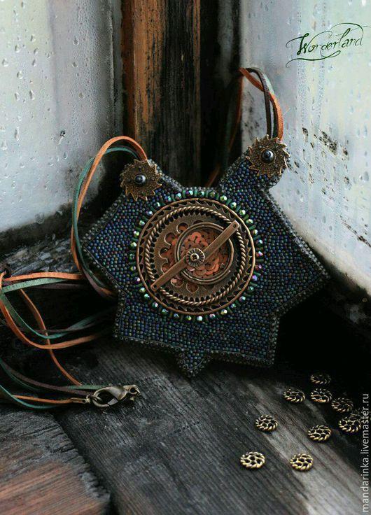 Кулоны, подвески ручной работы. Ярмарка Мастеров - ручная работа. Купить Вышитый бисером Кулон Звездный механизм. Handmade.