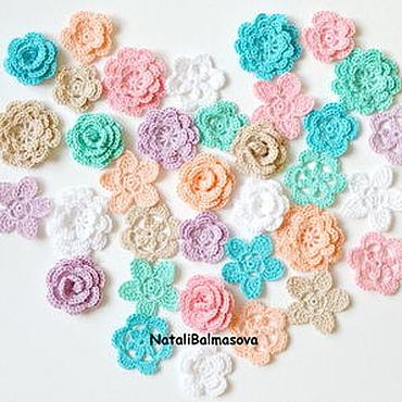 Materials for creativity handmade. Livemaster - original item Shabby knitted flowers in the set. Handmade.