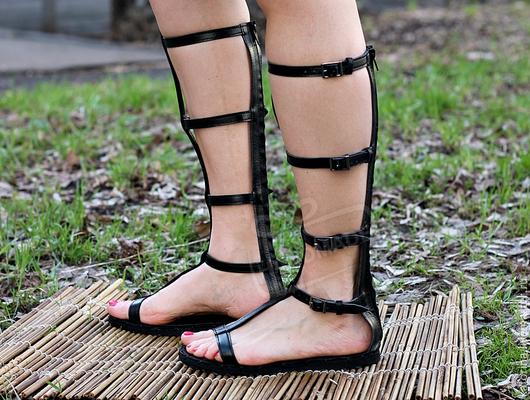 Обувь ручной работы. Ярмарка Мастеров - ручная работа. Купить NEW!  Гладиаторы сандалии из кожи Открытые с молнией Черные. Handmade.