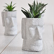 Цветы и флористика handmade. Livemaster - original item pots: Planters made of concrete Moai small, creative plants, succulents. Handmade.