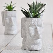 Кашпо: Кашпо из бетона Моаи малый, креатив для растений, суккулентов
