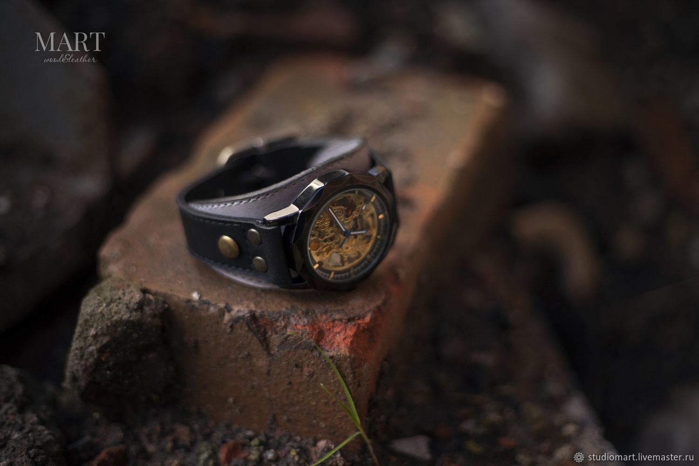 Наручные прозрачные часы Aviator GB на кожаном черном сером браслете, Часы, Санкт-Петербург, Фото №1