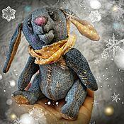 Тедди Зверята ручной работы. Ярмарка Мастеров - ручная работа Тедди Зверята: джинсовый заяц Джон. Handmade.