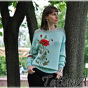 """Одежда ручной работы. Ярмарка Мастеров - ручная работа Вязаный  свитер с вышивкой """"Дикий мак"""". Handmade."""
