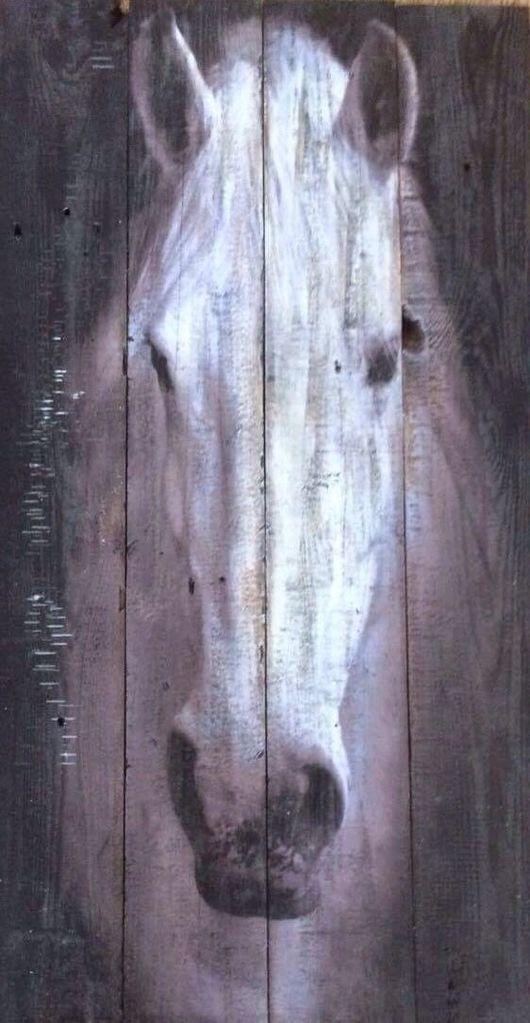 Животные ручной работы. Ярмарка Мастеров - ручная работа. Купить Картина на состаренном дереве. Лошадь. Handmade. Картина в подарок