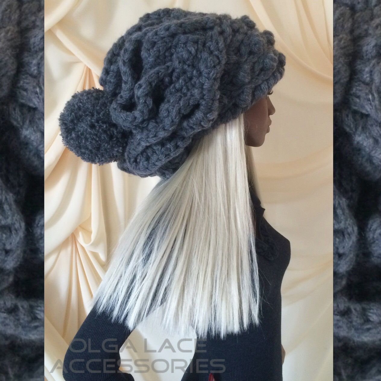 Mega volume knitted hat 'Luxury' from Olga Lace, Caps, Moscow, Фото №1