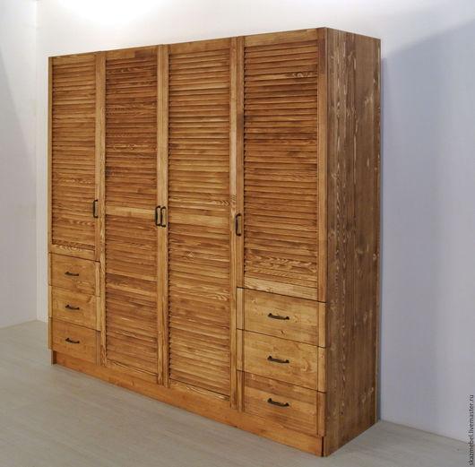 Мебель ручной работы. Ярмарка Мастеров - ручная работа. Купить Шкаф 4-х створчатый деревянный дверки жалюзи. Handmade.
