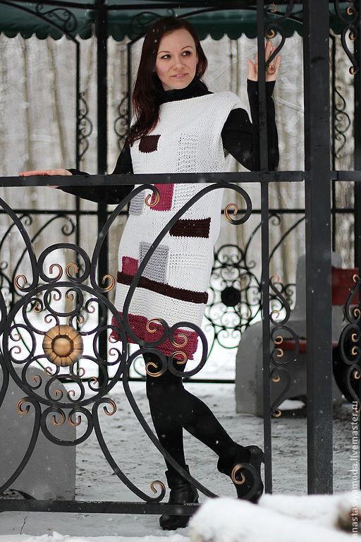 Платья ручной работы. Ярмарка Мастеров - ручная работа. Купить Занимательная геометрия. Вязаное платье. Handmade. Белый, теплое платье