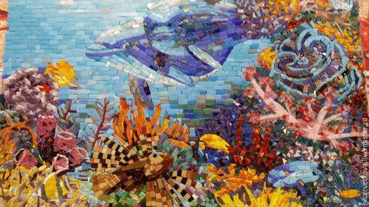 """Ванная комната ручной работы. Ярмарка Мастеров - ручная работа. Купить Мозаика, Панно """"Подводный мир"""". Handmade. Синий, сетка"""