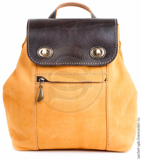 Nubuck leather backpack Palermo yellow, Backpacks, St. Petersburg,  Фото №1