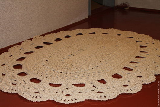 Текстиль, ковры ручной работы. Ярмарка Мастеров - ручная работа. Купить ковер из полиэфирного шнура. Handmade. Белый, полиэфирный шнур