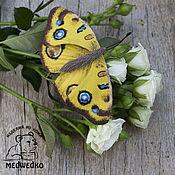 Украшения handmade. Livemaster - original item Brooch leather Butterfly Peacock pansy. Handmade.
