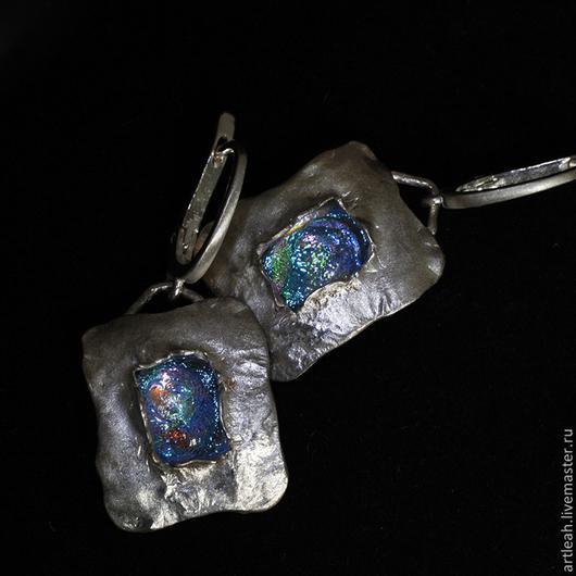 Серьги ручной работы. Ярмарка Мастеров - ручная работа. Купить Серьги из серебра со стеклом дикроик -Серебряный век. Handmade.