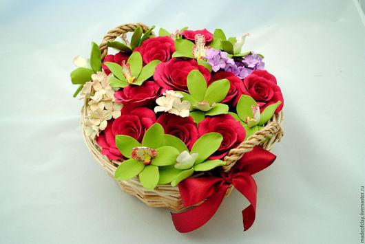 Интерьерные композиции ручной работы. Ярмарка Мастеров - ручная работа. Купить Корзинка с орхидеями, гортензиями и розами из полимерной глины. Handmade.