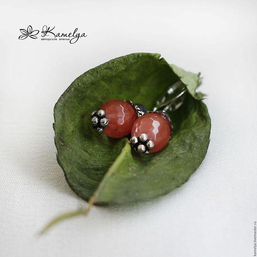 """Серьги ручной работы. Ярмарка Мастеров - ручная работа. Купить Серьги с кварцем и рубином """"Cherry"""". Handmade. Коралловый, подарок, гламур"""