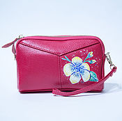 Сумки и аксессуары handmade. Livemaster - original item Pink leather cosmetic bag with a loop on the hand print flower painting. Handmade.