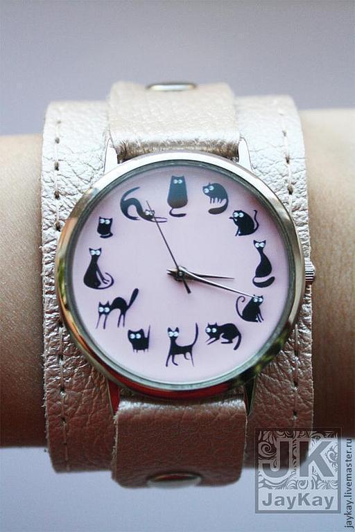 """Часы ручной работы. Ярмарка Мастеров - ручная работа. Купить Наручные часы JK """"12 котов в розовом"""". Handmade."""