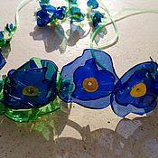 Украшения ручной работы. Ярмарка Мастеров - ручная работа ожерелье Голубые цветы. Handmade.