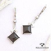 Украшения handmade. Livemaster - original item Obsidian silver earrings.. Handmade.