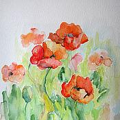 Картины и панно ручной работы. Ярмарка Мастеров - ручная работа Маки Акварель картина 17х20 см. Handmade.
