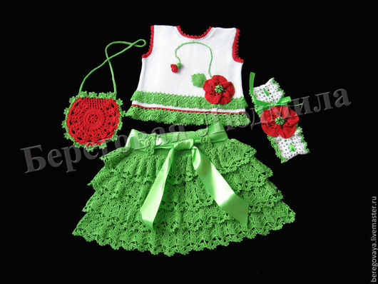 Одежда для девочек, ручной работы. Ярмарка Мастеров - ручная работа. Купить Комплект для девочки Мак. Handmade. Разноцветный, комплект