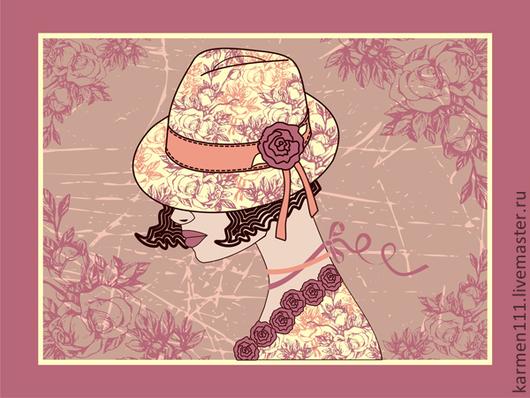 """Люди, ручной работы. Ярмарка Мастеров - ручная работа. Купить Картина """"Леди в шляпе"""". Handmade. Картина в подарок, подарок"""