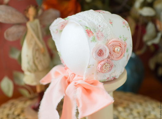 """Для новорожденных, ручной работы. Ярмарка Мастеров - ручная работа. Купить шапочка для фотосессии новорожденных """" аромат розы"""". Handmade."""
