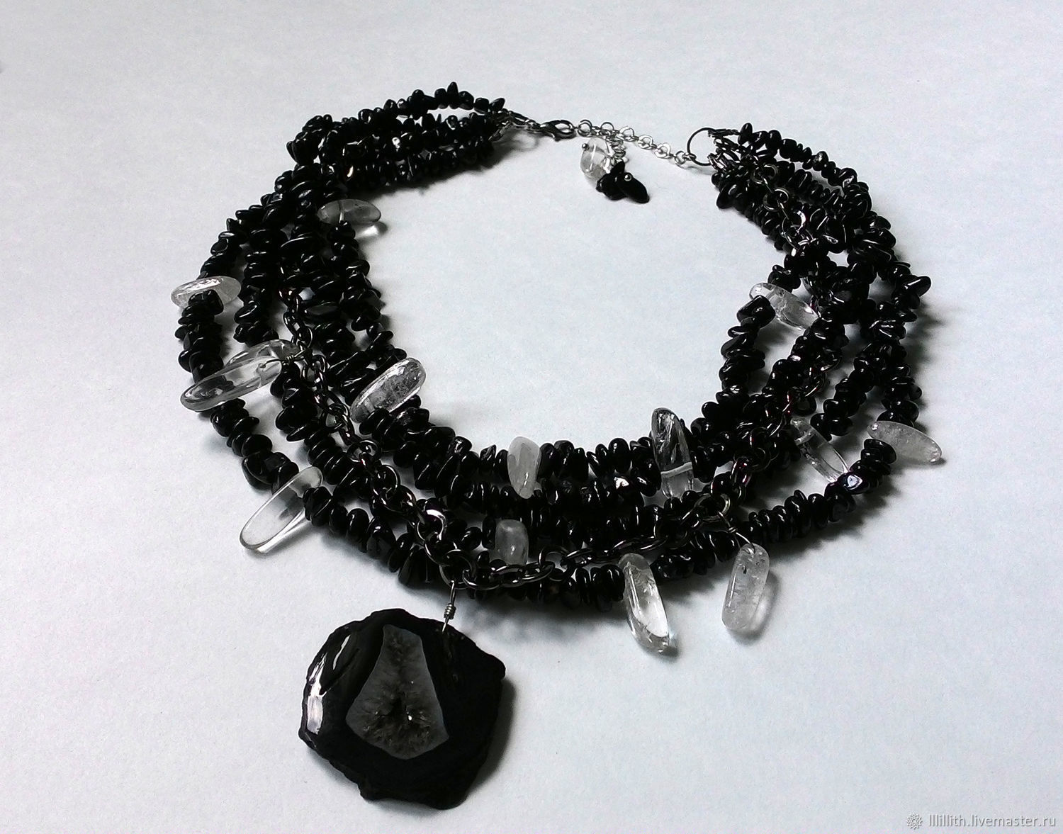 Necklace of black tourmaline, quartz and agate, Necklace, Moscow,  Фото №1