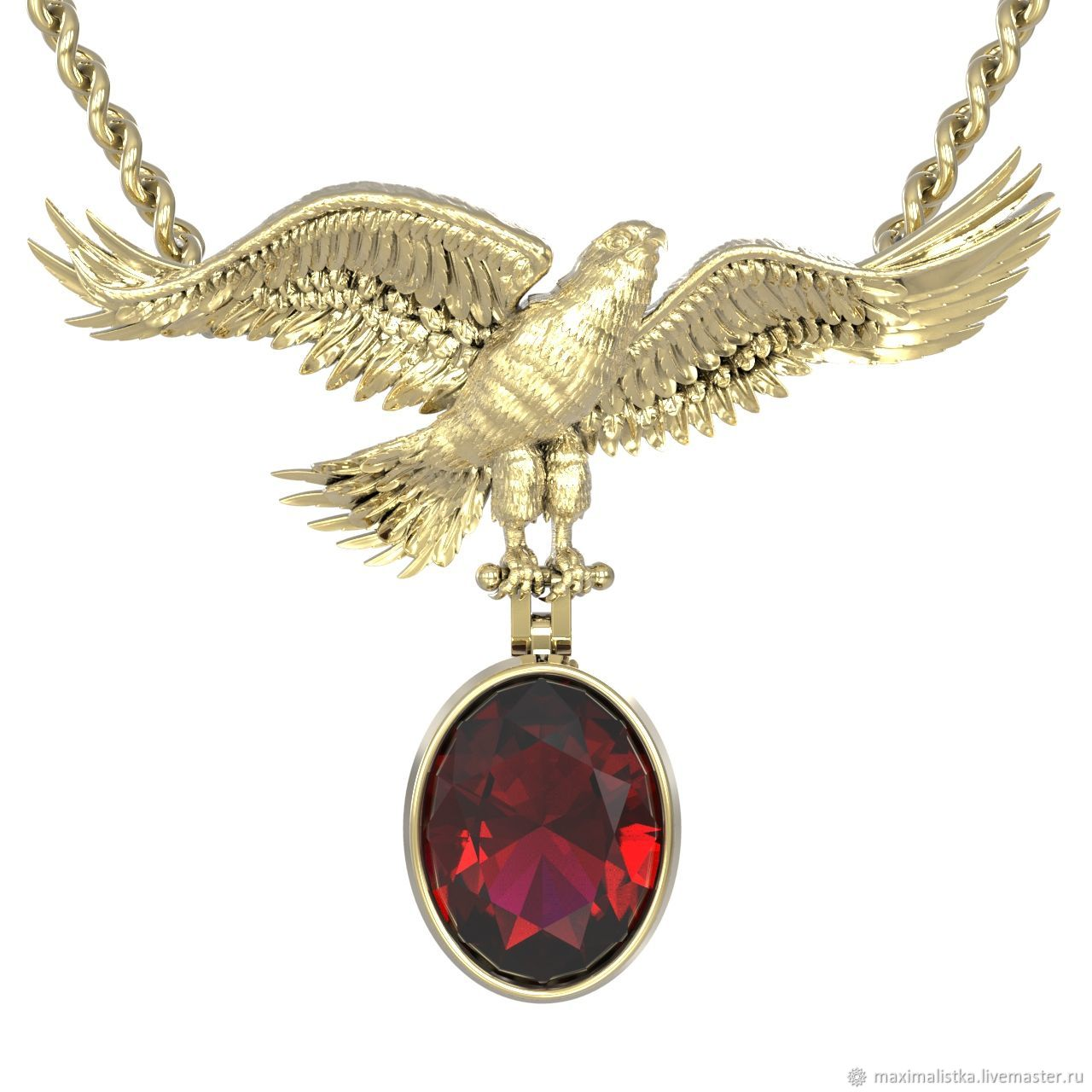 Gold pendant 'Falcon' with tourmaline natural, Pendants, Moscow,  Фото №1