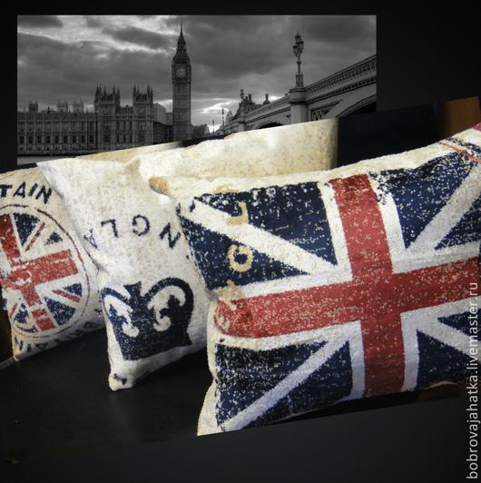 Текстиль, ковры ручной работы. Ярмарка Мастеров - ручная работа. Купить Диванная подушка в машину Лондон Британский флаг Подарок мужчине. Handmade.