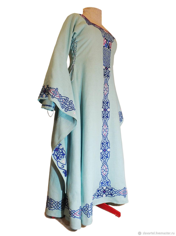 7d32f6bc39 SlavArtel · Dresses handmade. Medieval linen dress   sea Princess    Fantasy  Embroidered.