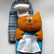 Для дома и интерьера ручной работы. Ярмарка Мастеров - ручная работа Прихватка - рукавичка для кухни Кот-повар (комплект). Handmade.