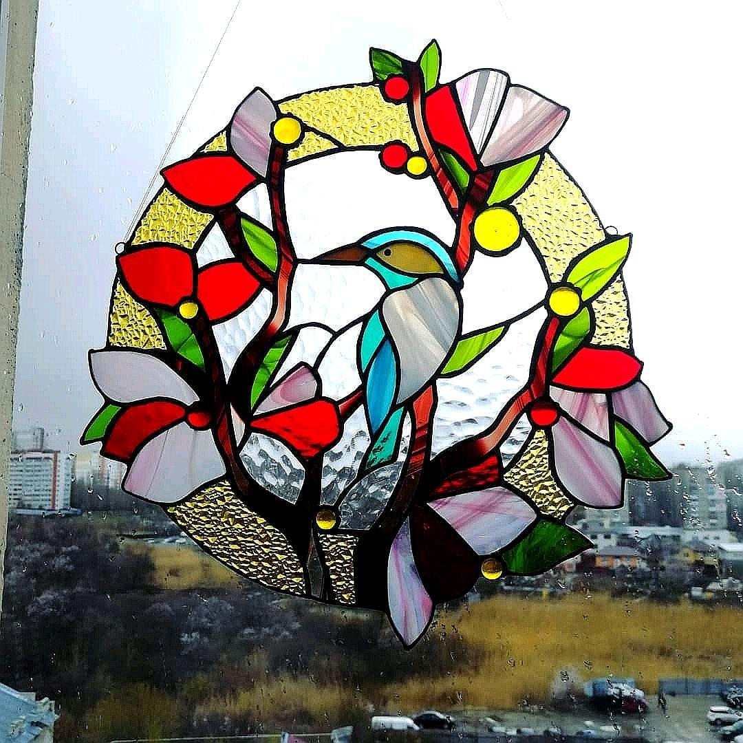 Украшение на окно ловец солнечных лучей Райская птица, Витражи, Саратов,  Фото №1