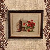 Картины и панно handmade. Livemaster - original item Cross stitch Coffee with poppies. Handmade.