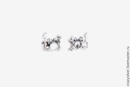 Кулон барабанная установка. CRAZY SILVER ™  Кулон ручной работы из серебра 925, максимальная детализация, маленькая копия барабанной установки.