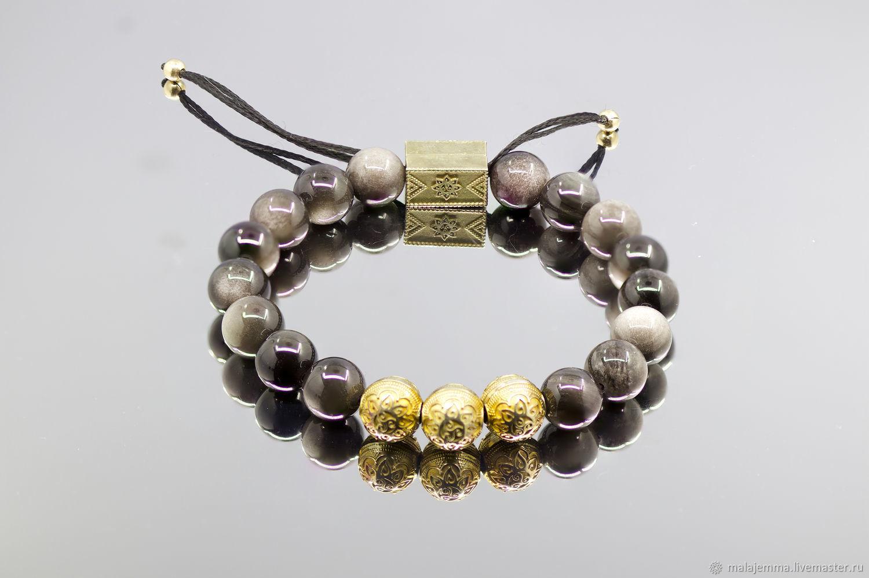 men's gold obsidian bracelet 10mm, Bead bracelet, Magnitogorsk,  Фото №1