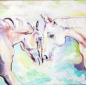 """Картины и панно ручной работы. Ярмарка Мастеров - ручная работа Картина маслом """"Аврелия и Вито"""". Handmade."""