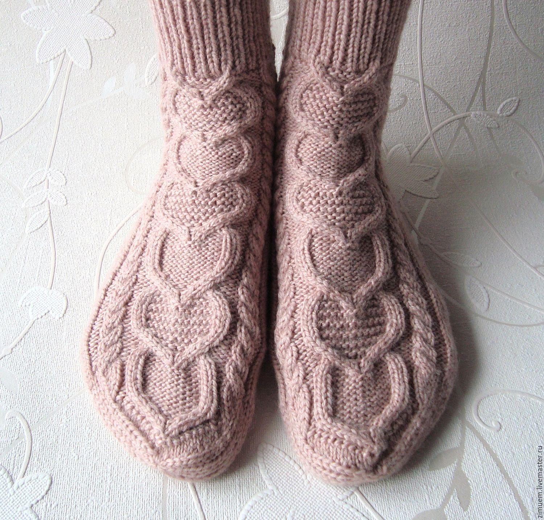 Купить Вязаные носки ручной работы, красивый подарок для девушки - вязаные носки, шерстяные носки