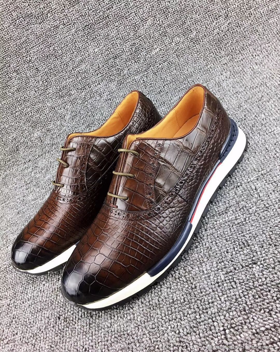 Sneakers made of genuine crocodile leather, in brown color!, Sneakers, Tosno,  Фото №1
