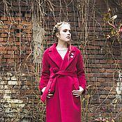 Одежда ручной работы. Ярмарка Мастеров - ручная работа Пальто зимнее марсала на утеплителе халат вино бордо винное. Handmade.
