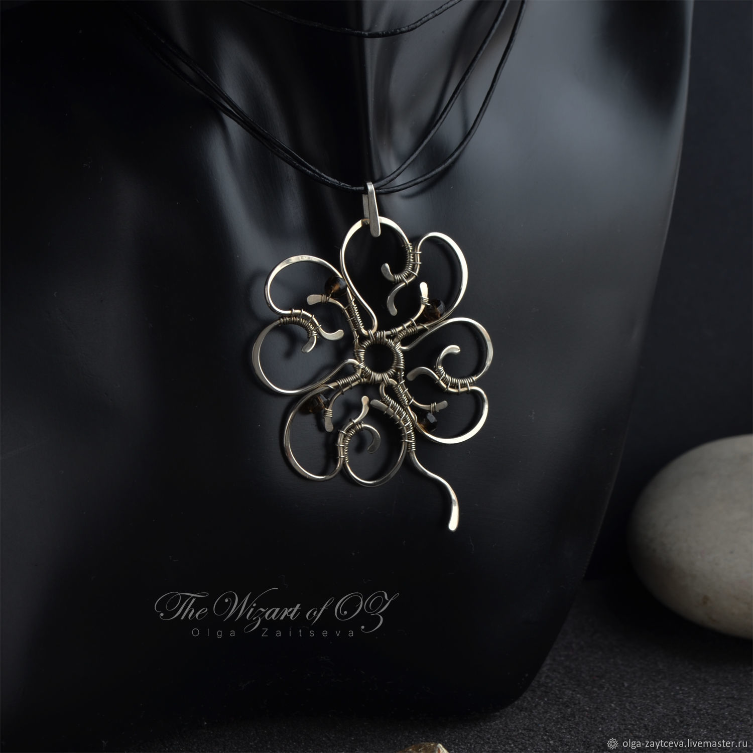 Four leaf clover pendant with smoky quartz big pendant openwork pendants handmade livemaster handmade buy four leaf clover pendant with smoky quartz aloadofball Image collections