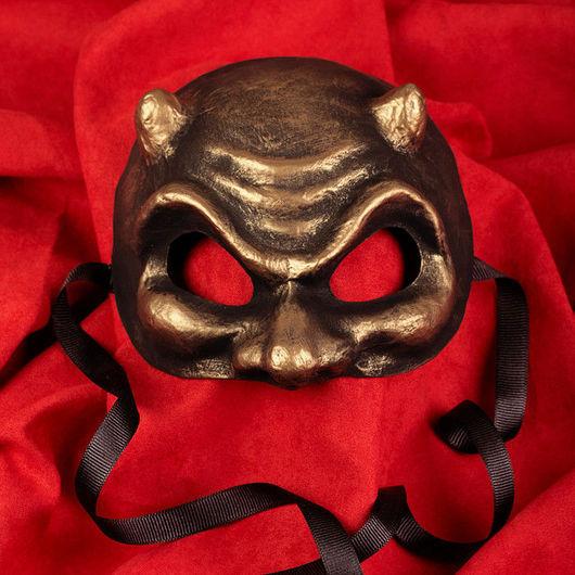 Карнавальные костюмы ручной работы. Ярмарка Мастеров - ручная работа. Купить Карнавальная маска Фаусто Бронза. Handmade. Маска, чертенок