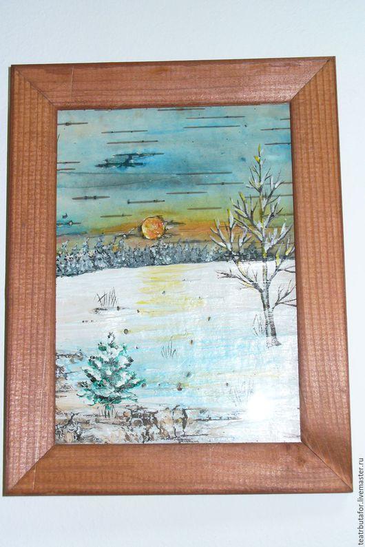 Картины на бересте «Зима»  350.00 Р  Размеры длина 22 см. х ширина 16, 5 см.  Картина изготавливается на заказ, пейзаж может незначительно отличаться от фотографии.