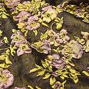 Материалы для творчества ручной работы. Ярмарка Мастеров - ручная работа Фукра жаккард Chanel шелк коричневый фон лиловые цветы золотые листья. Handmade.