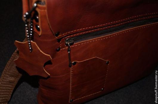 Мужские сумки ручной работы. Ярмарка Мастеров - ручная работа. Купить Мужская кожаная сумка на ремне. Handmade. Из кожи