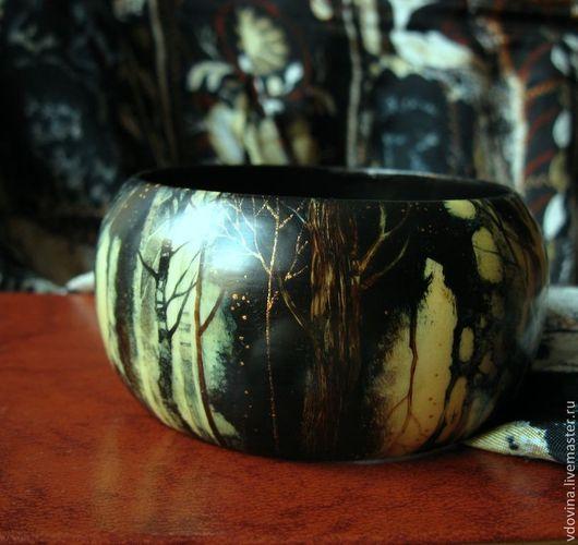 Браслеты ручной работы. Ярмарка Мастеров - ручная работа. Купить браслет с росписью Колыбельная для Чернолесья. Handmade. Темно-коричневый