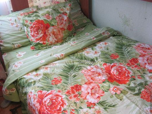 """Текстиль, ковры ручной работы. Ярмарка Мастеров - ручная работа. Купить 2х-спальный комплект постельного белья """"Тропикана"""". Handmade."""